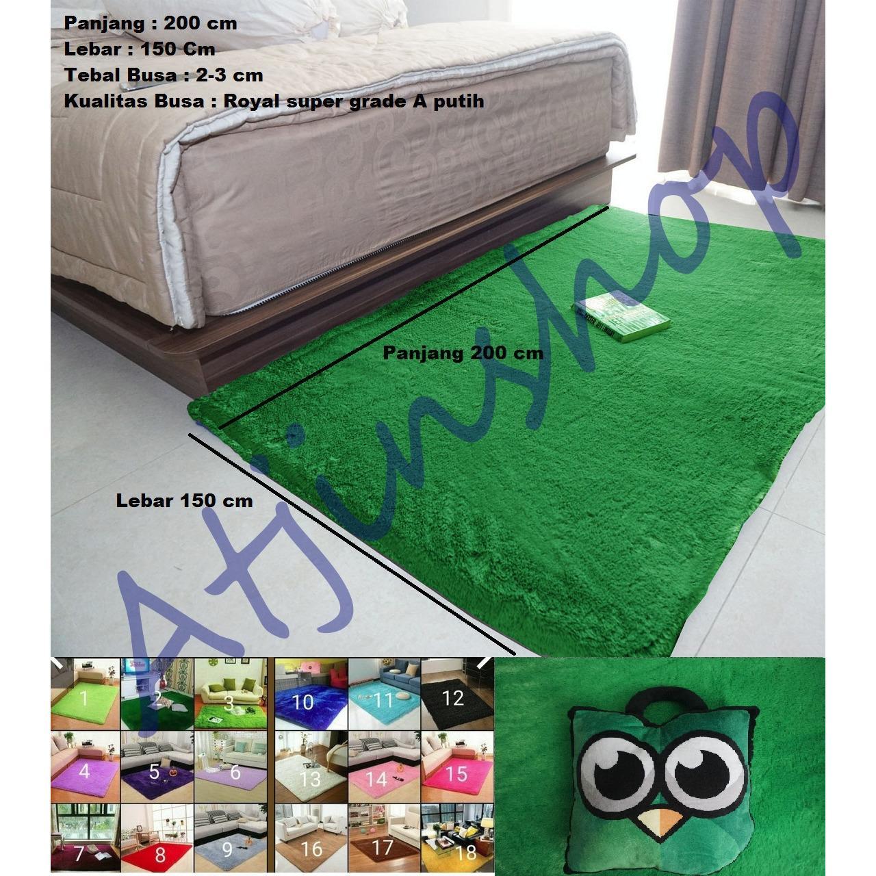TjinCollection-Karpet Bulu Rasfur Lembut Busa Super Berkualitas 200 x 150 [HIJAU RUMPUT]