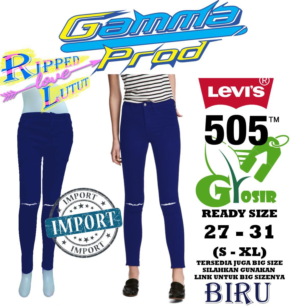 Celana Skinny Soft Jeans WANITA RIPPED LUTUT LEVIS 505 BIRU GROSIR