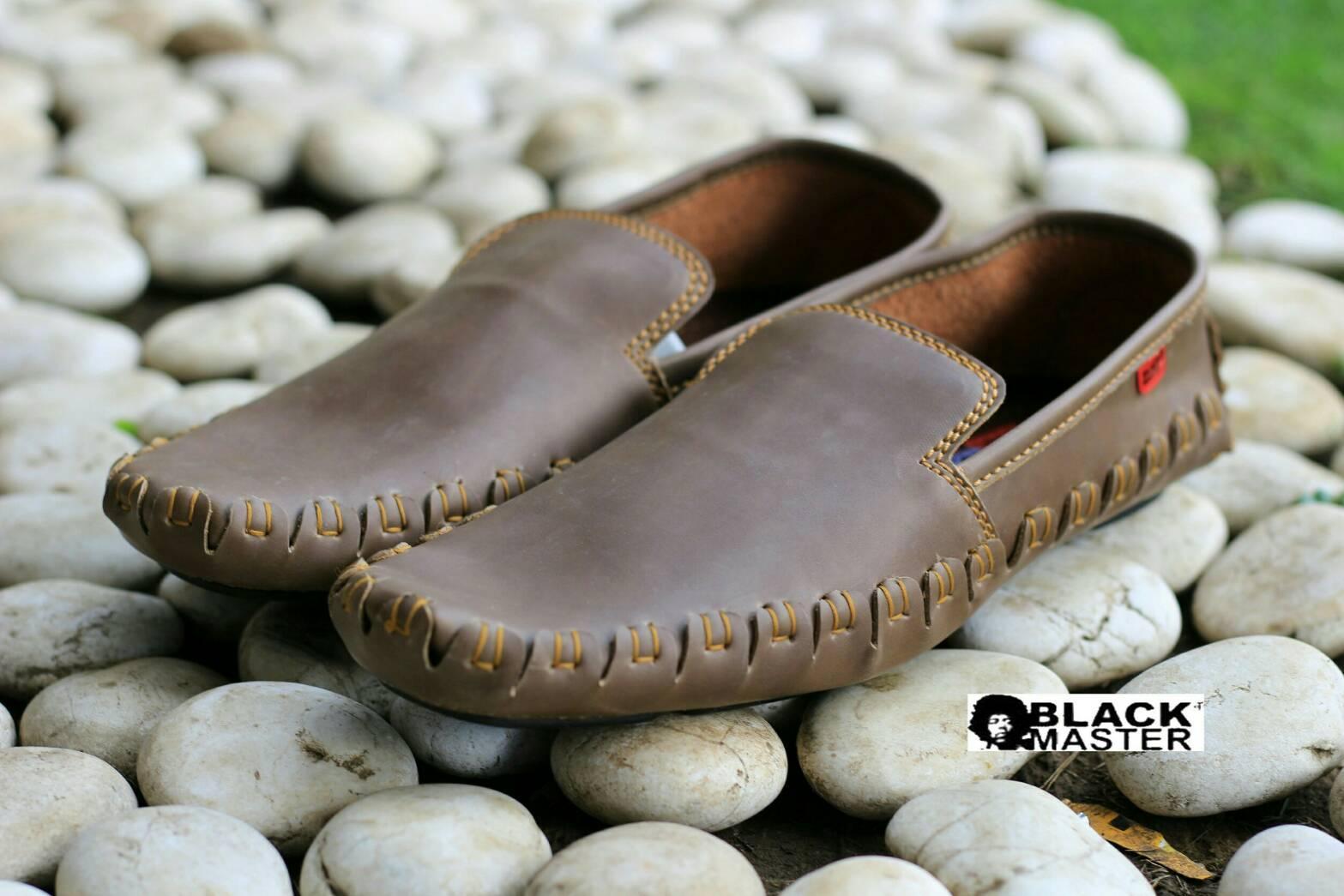 sepatu kulit pria casual mocasin slip on slop black master king original 823716f967