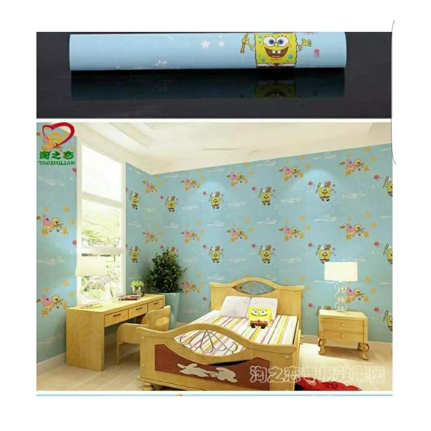 Stiker Walpaper Dinding - Elegant Wallpaper Sticker (Size 45cm X 10M) - Spongebob