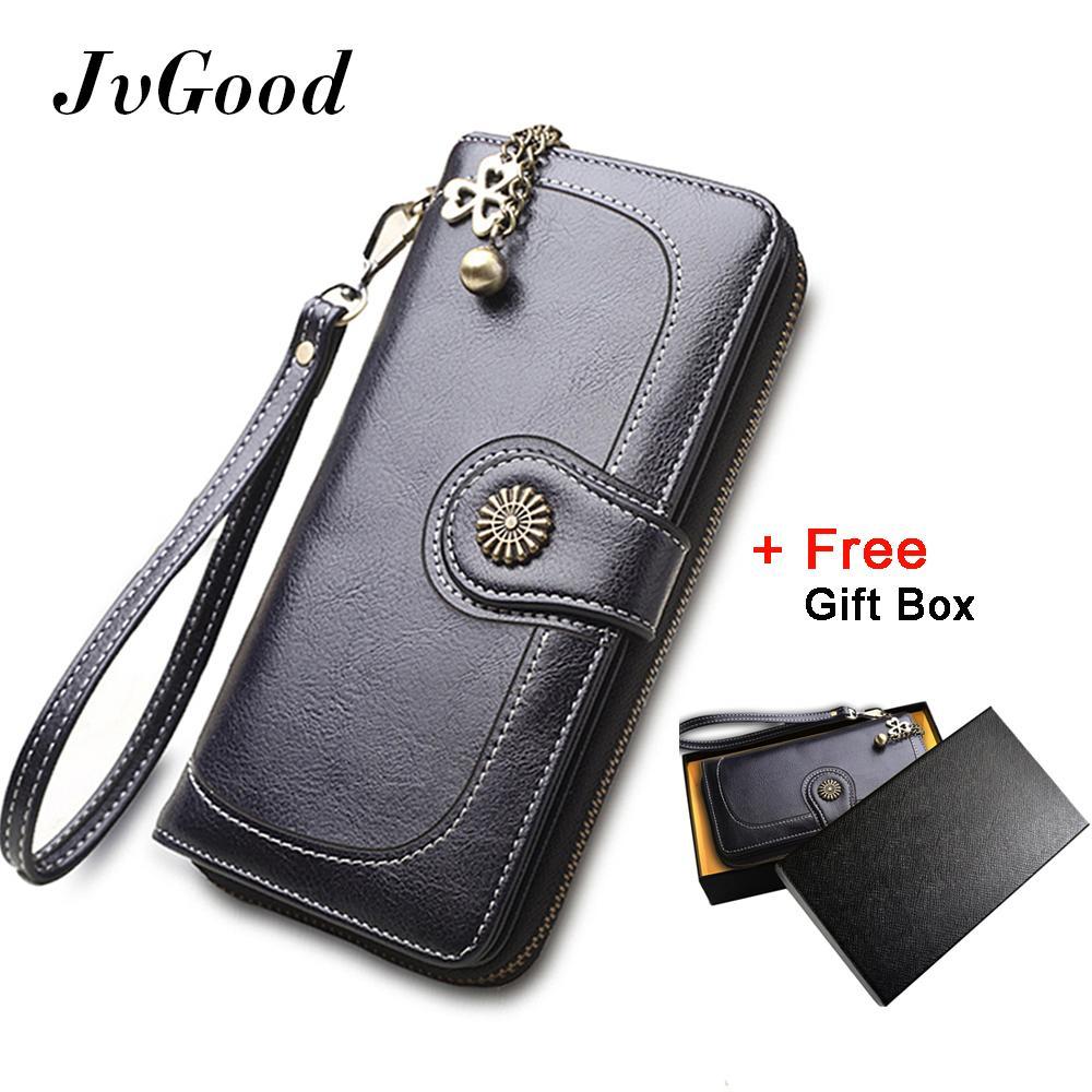 JvGood Vintage Oil Wax Leather Wallets Women Long Purse Phone Pouch Zipper Purse Women Clutch Purses