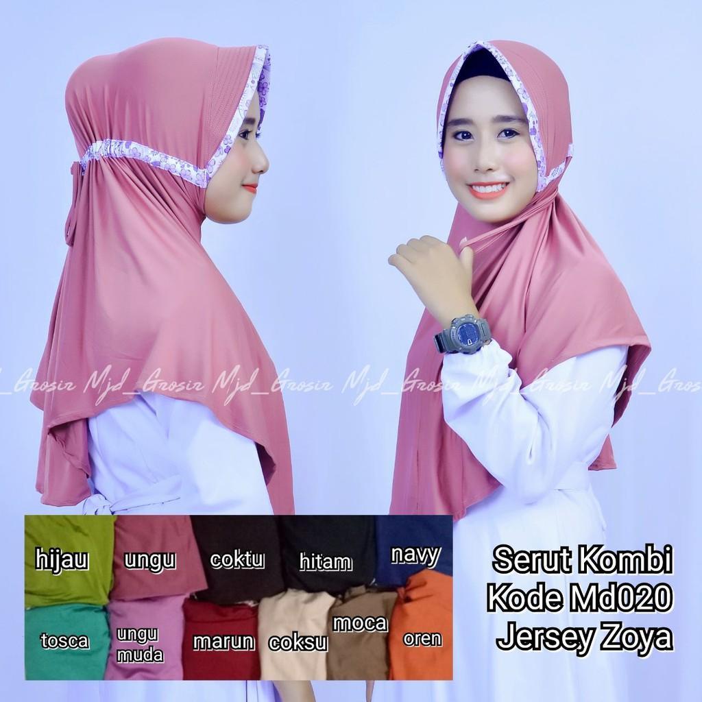 Grosir jilbab mukena hijab kerudung murah instan serut kombi jersey zoya (md020) (hitam