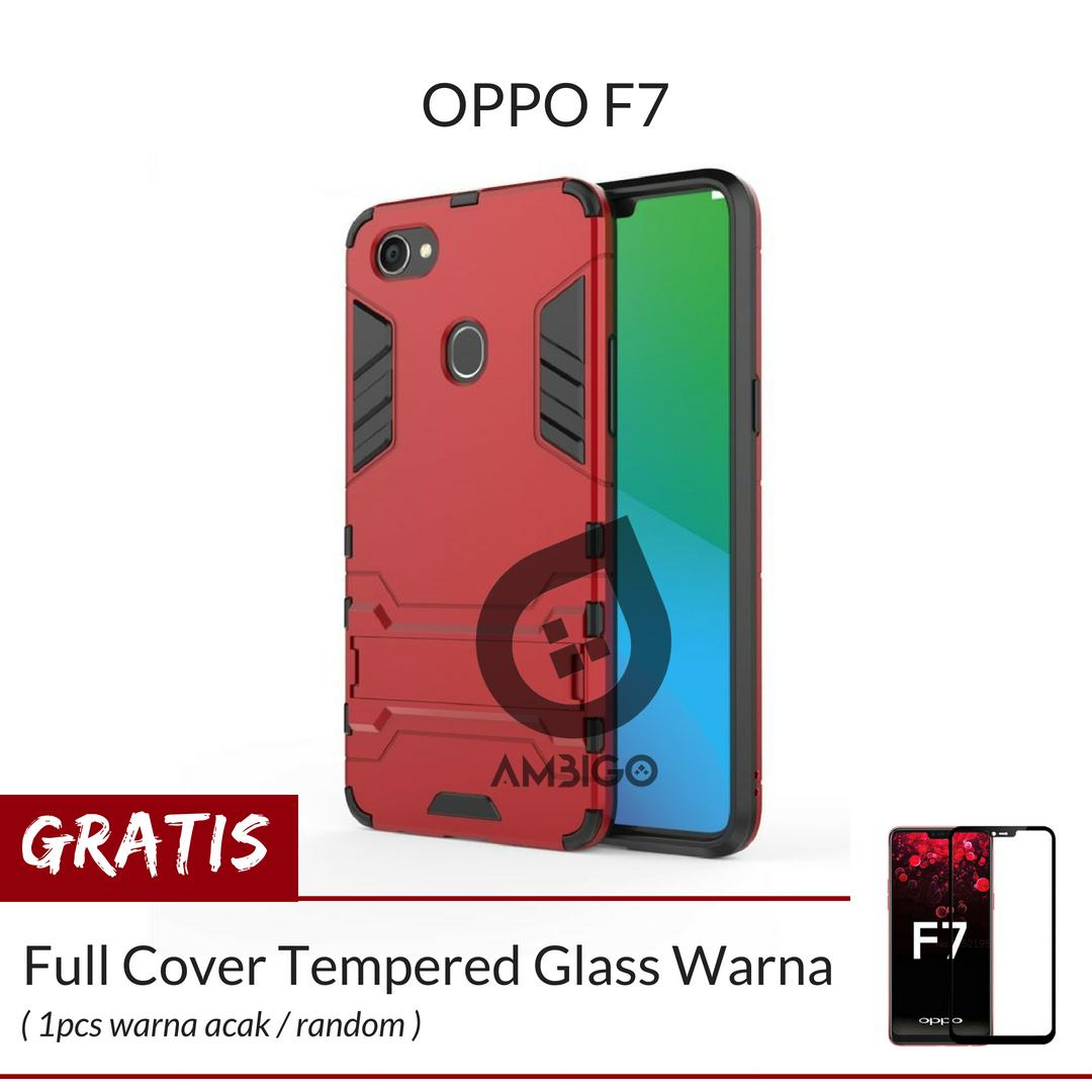 Ambigo Case Oppo F7 Hardcase Ironman Robotic Kickstand Transformer + Gratis  Full Cover Tempered Glass Warna 830dde62f6
