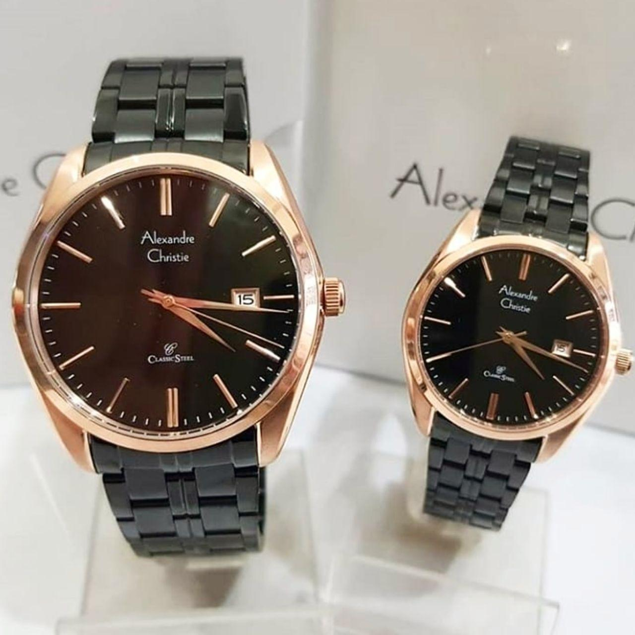 Cek Harga Baru Jam Tangan Couple Alexandre Christie Ac 8510 8333 Rose Gold Black Original Ac8558 Stainless Steel Hitam Rosegold