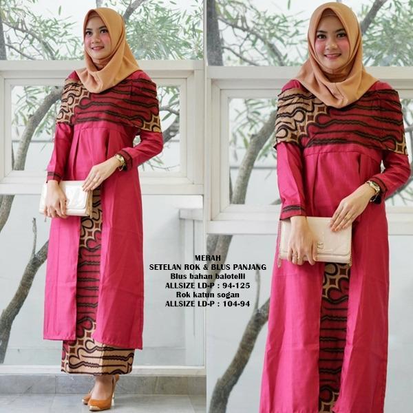 busana muslim wanita gamis batik terbaru bahan katun baloteli warna merah GB258