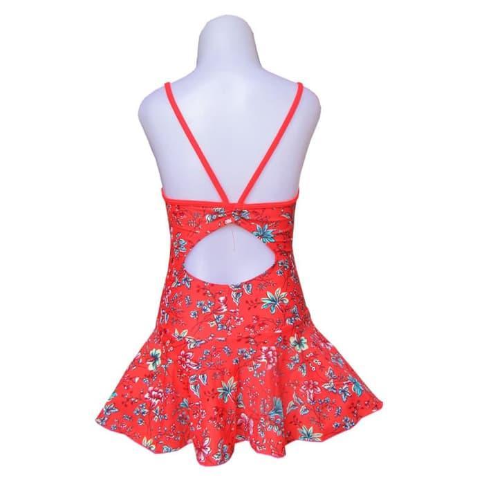 Baju Renang Anak Perempuan 3-6 Tahun Serut Belakang Motif Merah Bunga - 2