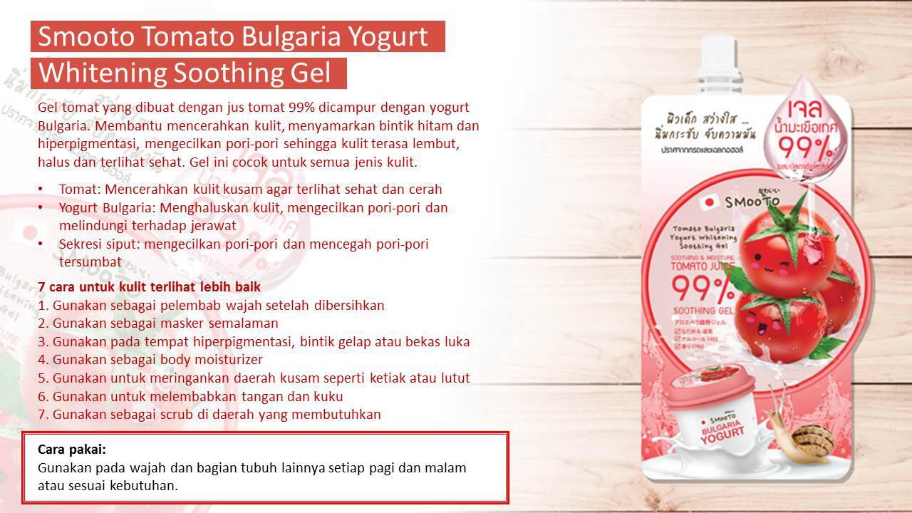 Kelebihan Smooto Tomato Bulgaria Yogurt Whitening Soothing Gel 40g Gluta Aura Sleeping Mask Detail Gambar Terbaru