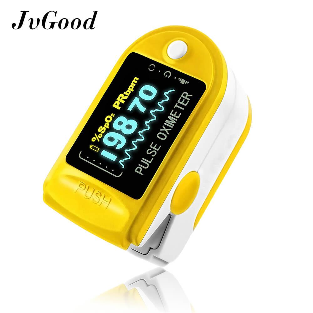Jvgood Fingertip Pulse Oximeter Blood Oxygen Saturation Levels Heart Rate Spo2 Monitor With Oled Display Murah