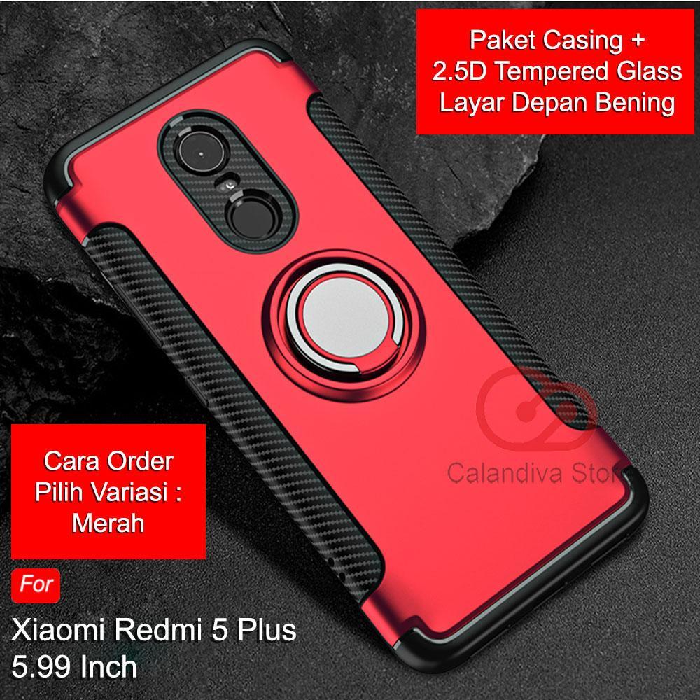 Calandiva Case Xiaomi Redmi 5 Plus (5.99 Inch) Casing Ring Carbon Kickstand Hybrid Premium