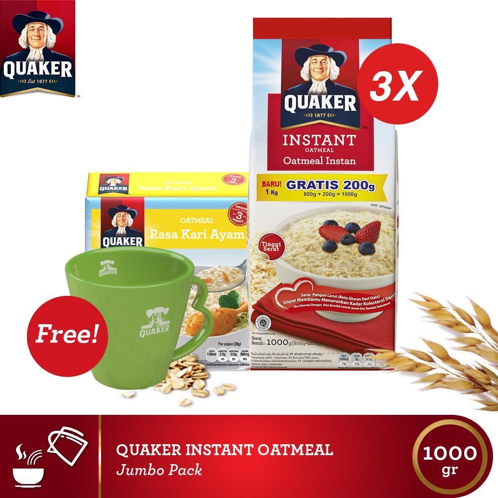 [Buy 1 Free Kari 4s+Mug]Quaker Instant Oatmeal 800+200gr