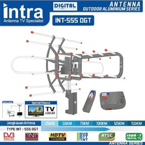 Intra INT-555 DGT Antena TV Outdoor Digital Remote + Booster BISA PUTAR KANAN KIRI