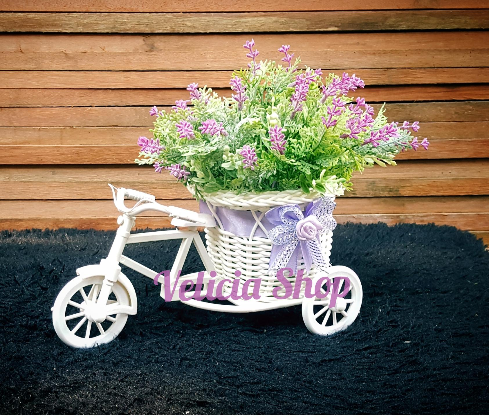 Bunga Pajangan - Bunga Hias Plastik - Bunga Lavender -Tanaman artifisial Pot Sepeda Medium FFL888 - 2