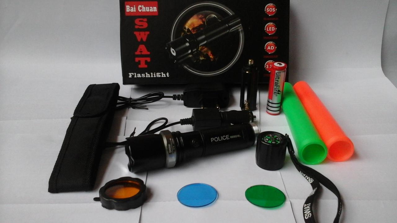 New Police Senter Swat 99000w - Double 2 Cone Lalin - Flashlight Sinar Cahaya Led Putih