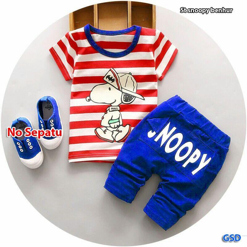 Detail Gambar Grosir Dress- Setelan Baju Anak Cowok / Baju Anak Murah - Setelan Snoopy