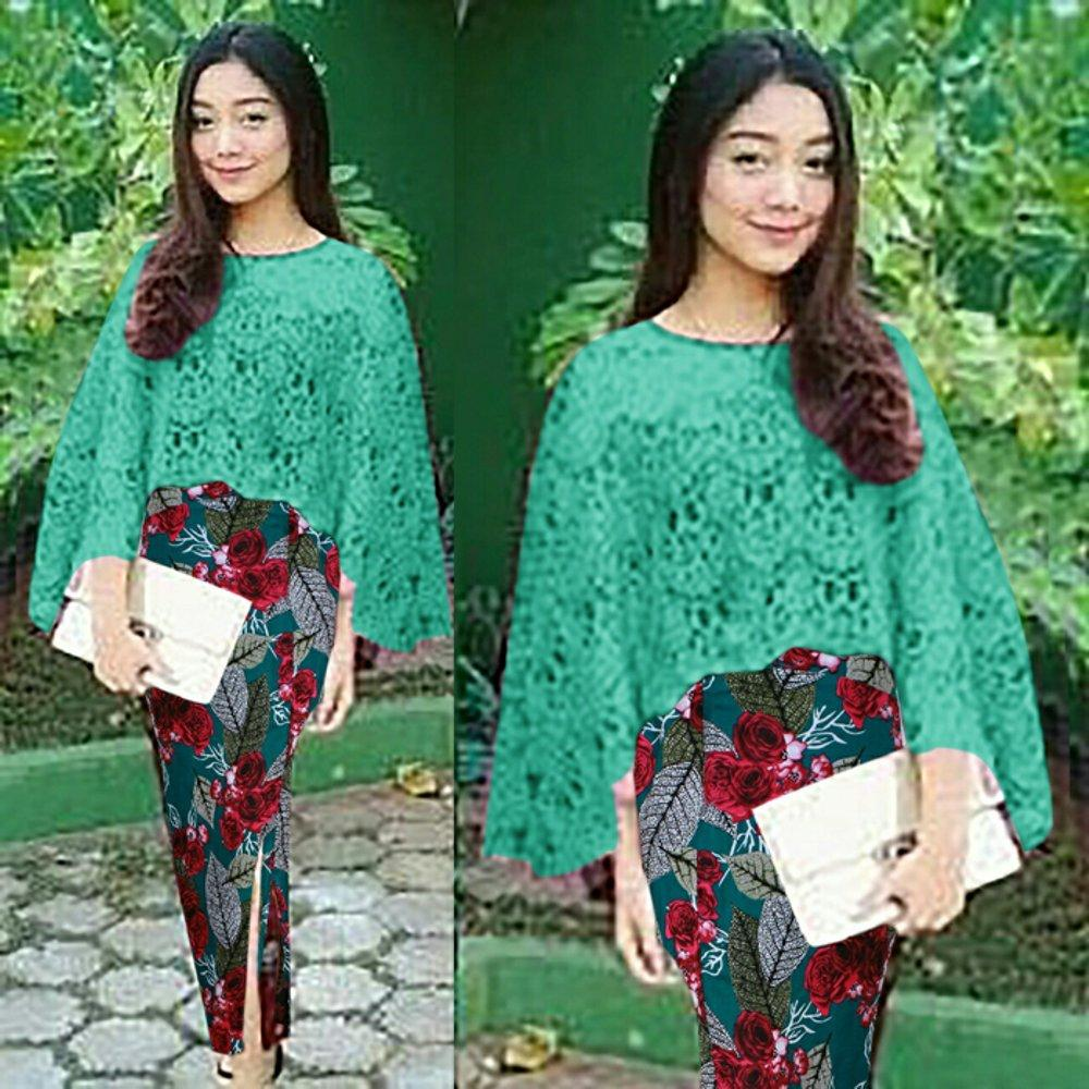 Vanya Set Cape Brukat Premium (No Furing) + Rok Batik - Atasan + Rok