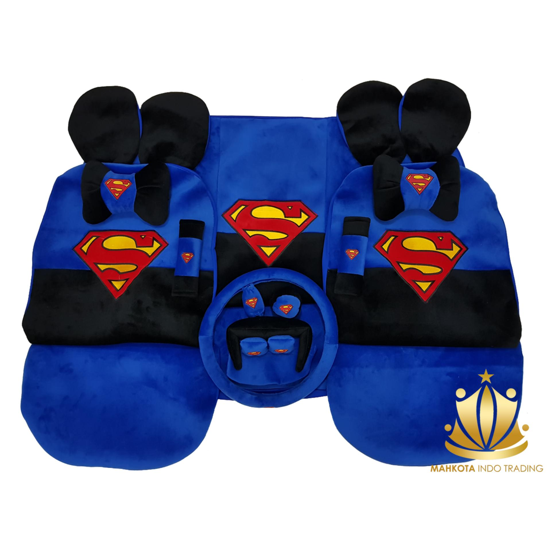 Sarung Jok 24in1 / Car Set / Bantal Mobil Superman All New Avanza / All New Xenia (Head-rest Tidak Menyatu) (3 Baris)