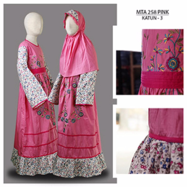 MTA258Pink(10-12tahun) gamis arab anak perempuan jersey kaos branded