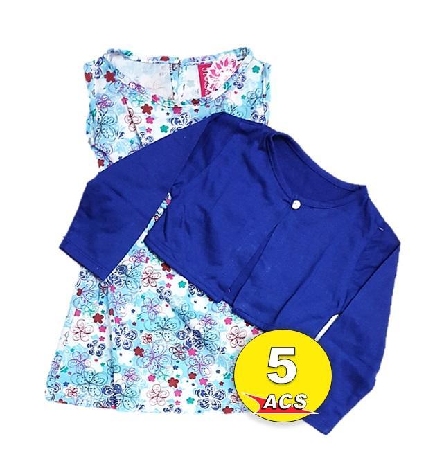 ACS SETELAN DRESS CARDIGAN ANAK CEWEK FLOWER KIDS ESTIMASI UNTUK 1-3TAHUN