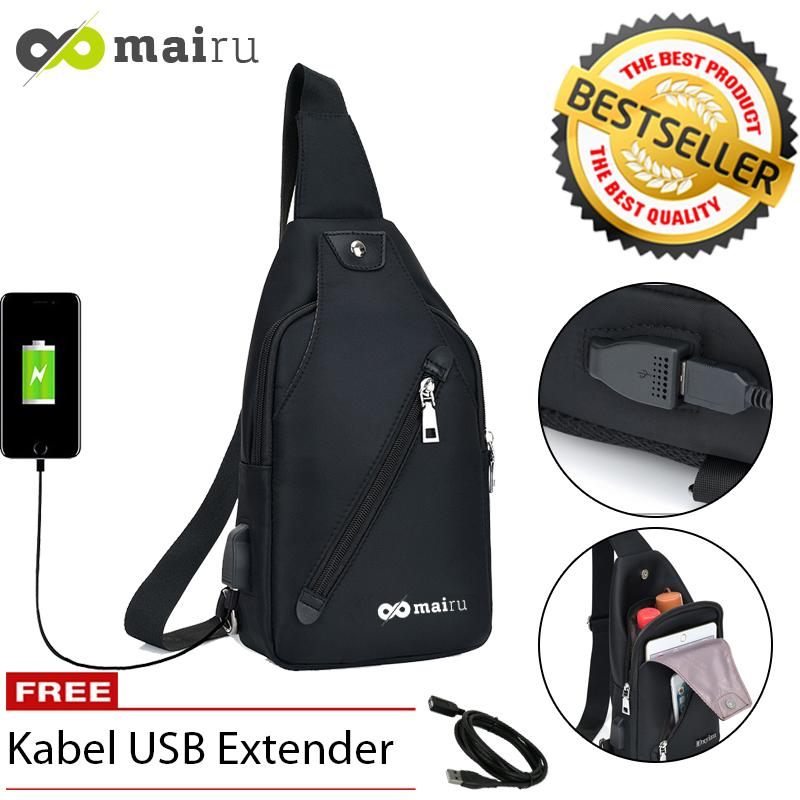 mairu 533 tas selempang pria sling bag cross body with  usb charger support  for iphone ipad mini xiaomi samsung tab tablet 8 anti theft