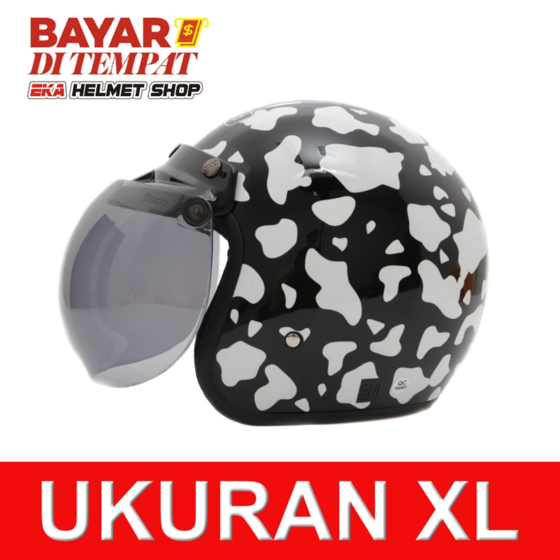 Wto Helmet Retro Bogo Cow Hitam Wto Helmet Diskon 30
