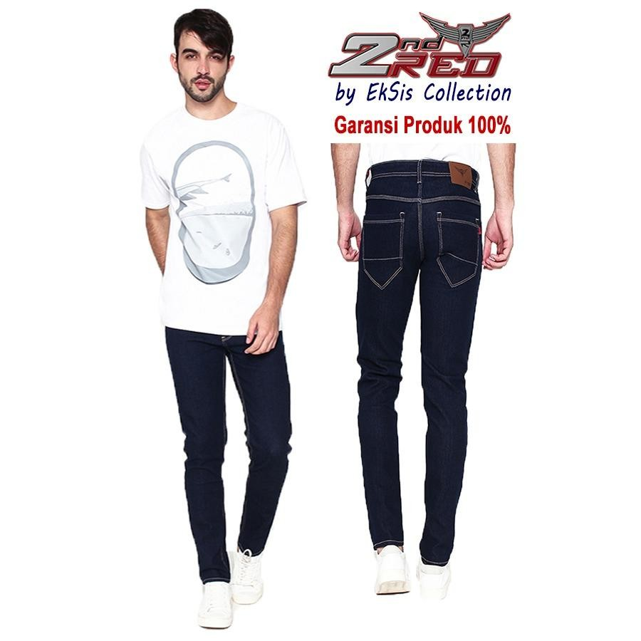 Beli 2Nd Red Celana Jeans Slim Fit Blue Black Best Produk Eksis Collection 133252 Online Murah