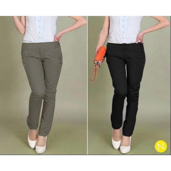 44676 celana pajang streach/celana katun wanita/celana santai wanita