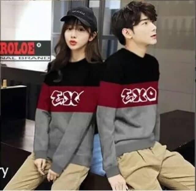 JS - Sweater Couple New exo / Sweater Couple Terbaru / Baju Couple Lengan / Baju