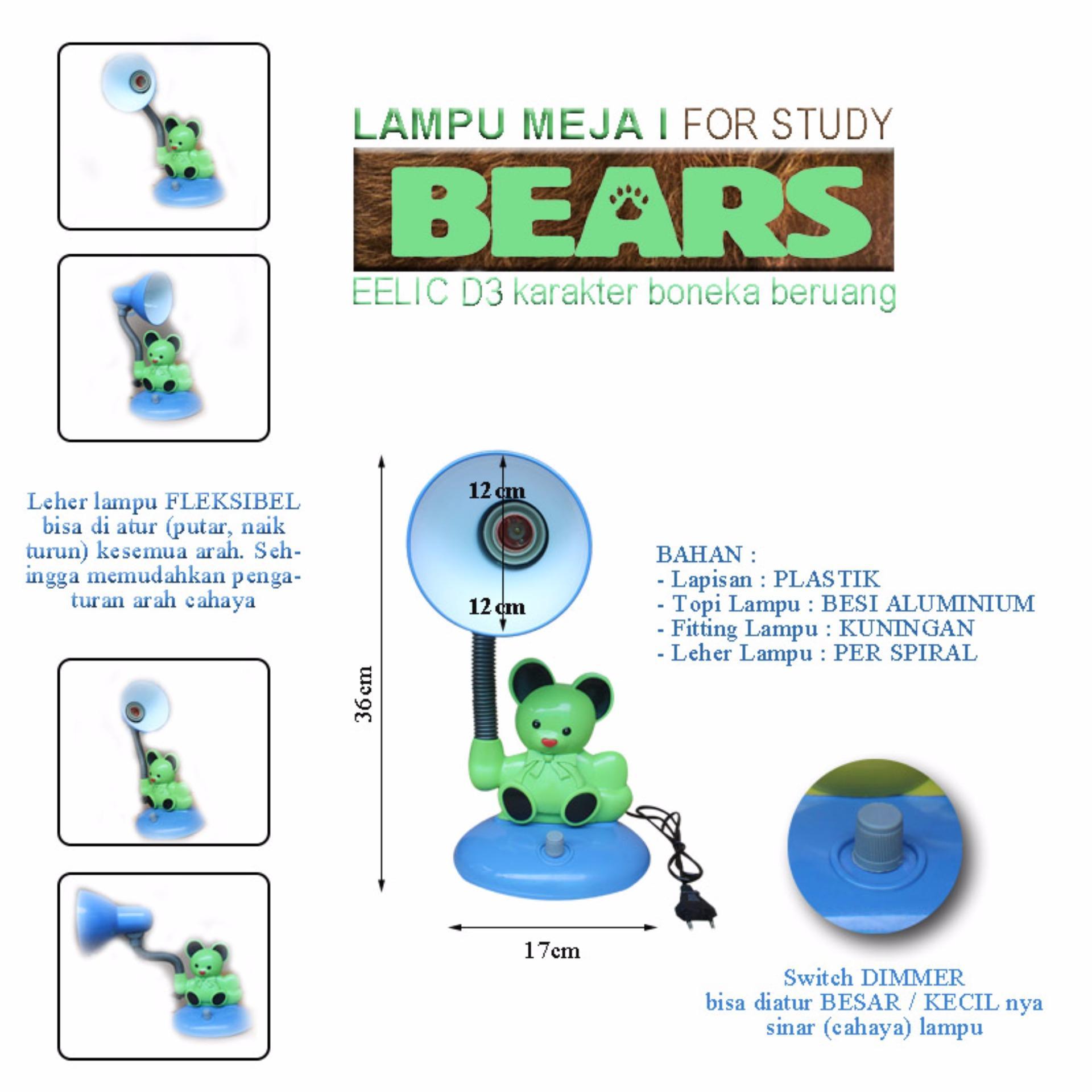 EELIC JM D3 Lampu Meja Belajar Hemat Energi Karakter Boneka Beruang Sinar Sempurna .