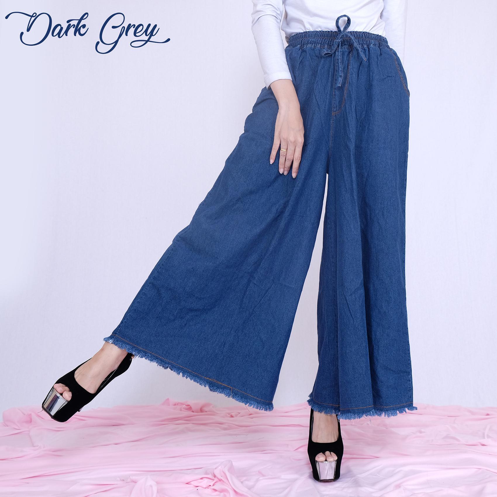 Detail Gambar HaymeeStore Celana Kulot Payung Rawis Jumbo Jeans Denim  Panjang Wanita Celana Cullot Denim Kantor f396c452c3