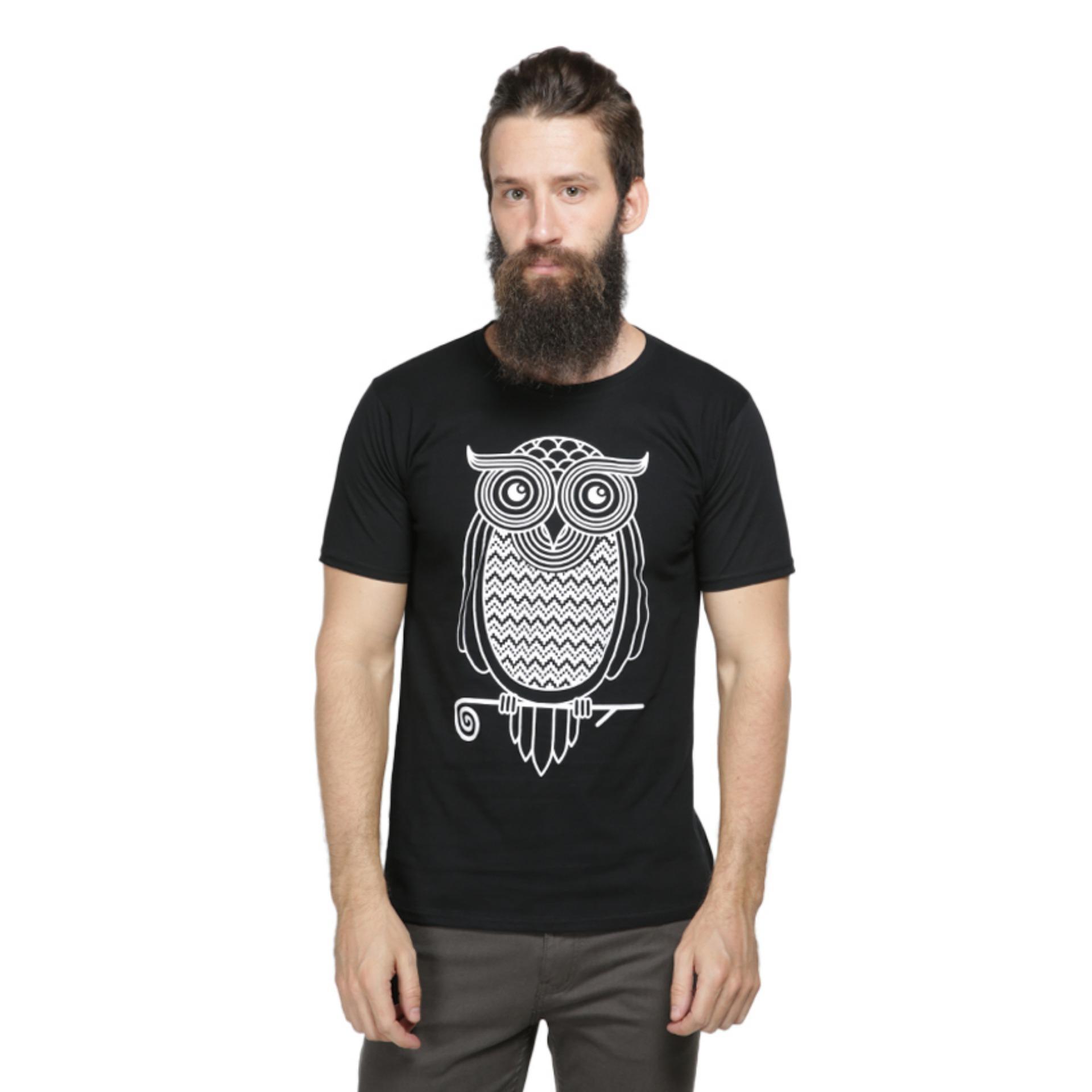 Vanwin - Kaos Distro Premium Pria Owl Kacamata - Hitam