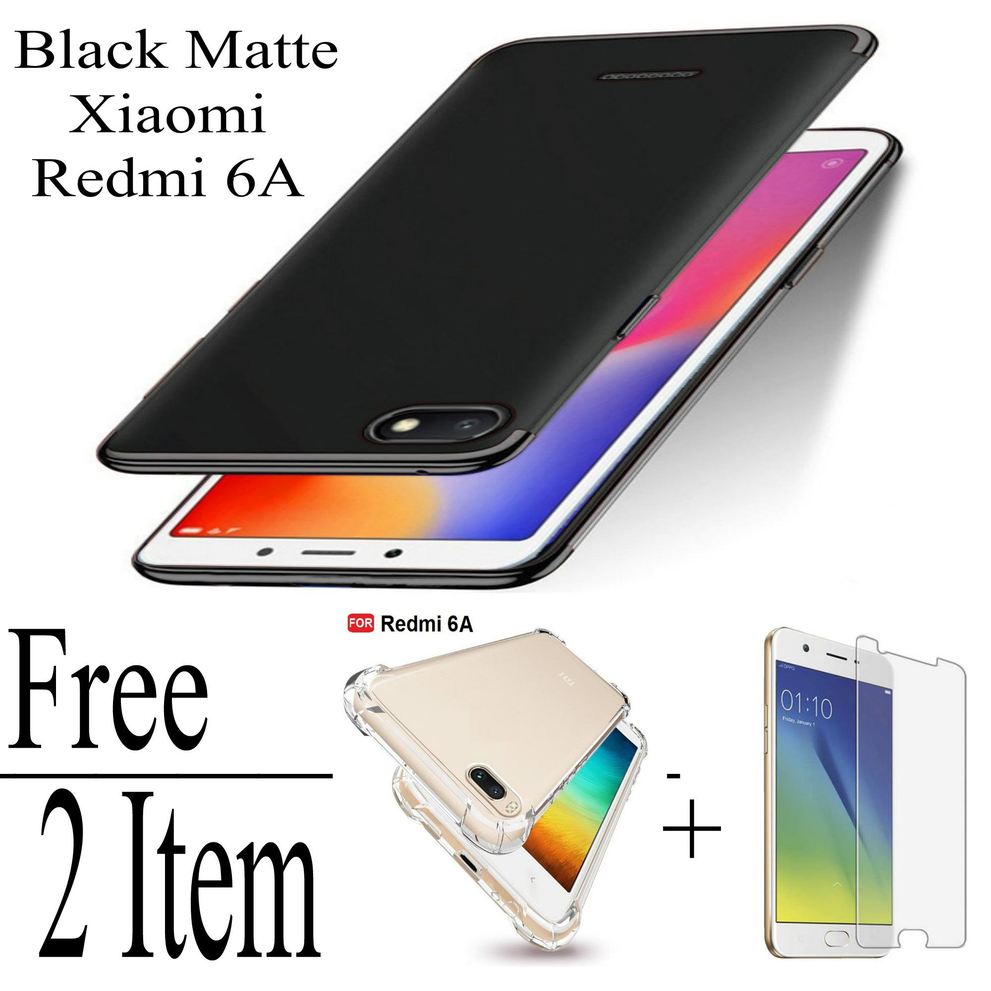 Softcase / case Black Matte For Xiaomi Redmi 6A Free Anti Crack + Tempered Glass /