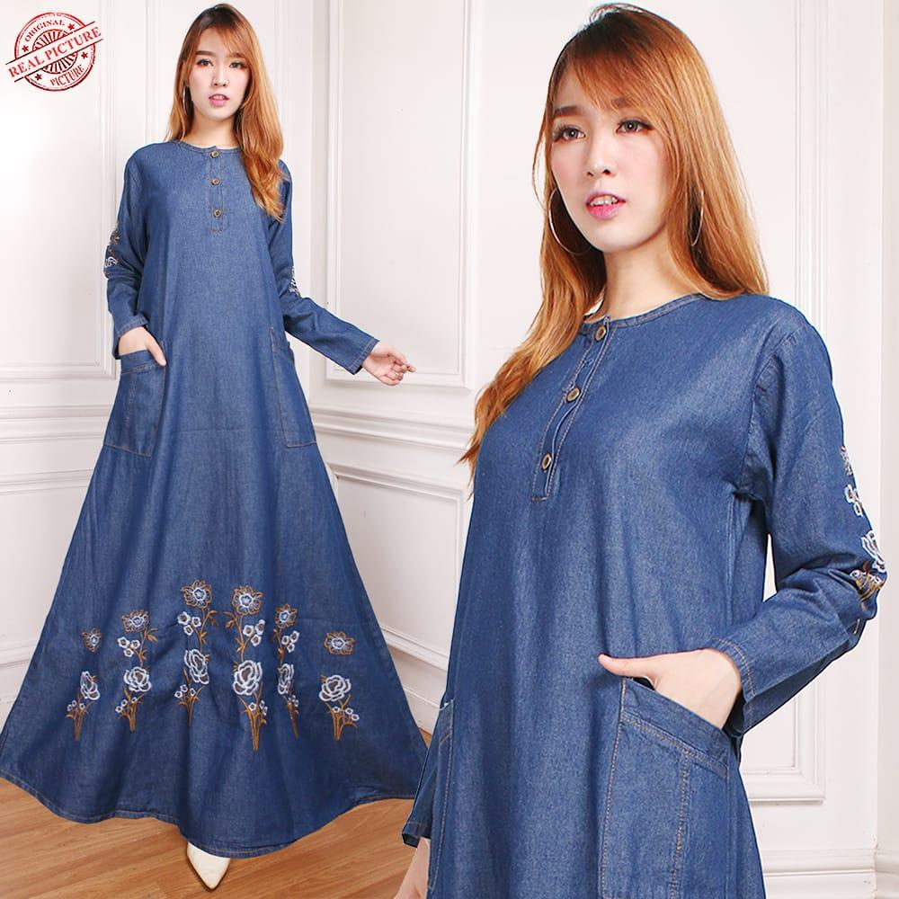 SB Collection Dress Maxi Meisa Gamis Jeans Longdress Terusan Casual Wanita