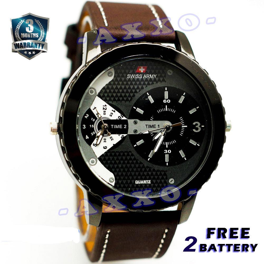 Swiss Army Dual Time - Jam Tangan Pria - Strap Kulit - Coklat Tua Variasi Putih - SA 0047 ...