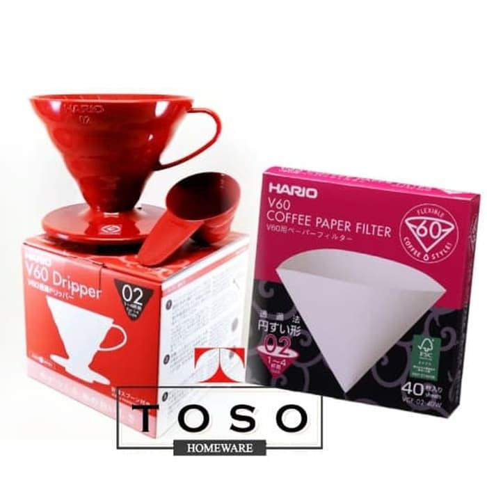 Promo Paket Hario V60 Coffee Dripper with Paper Filter 02 Pour Over Kit Kopi Diskon