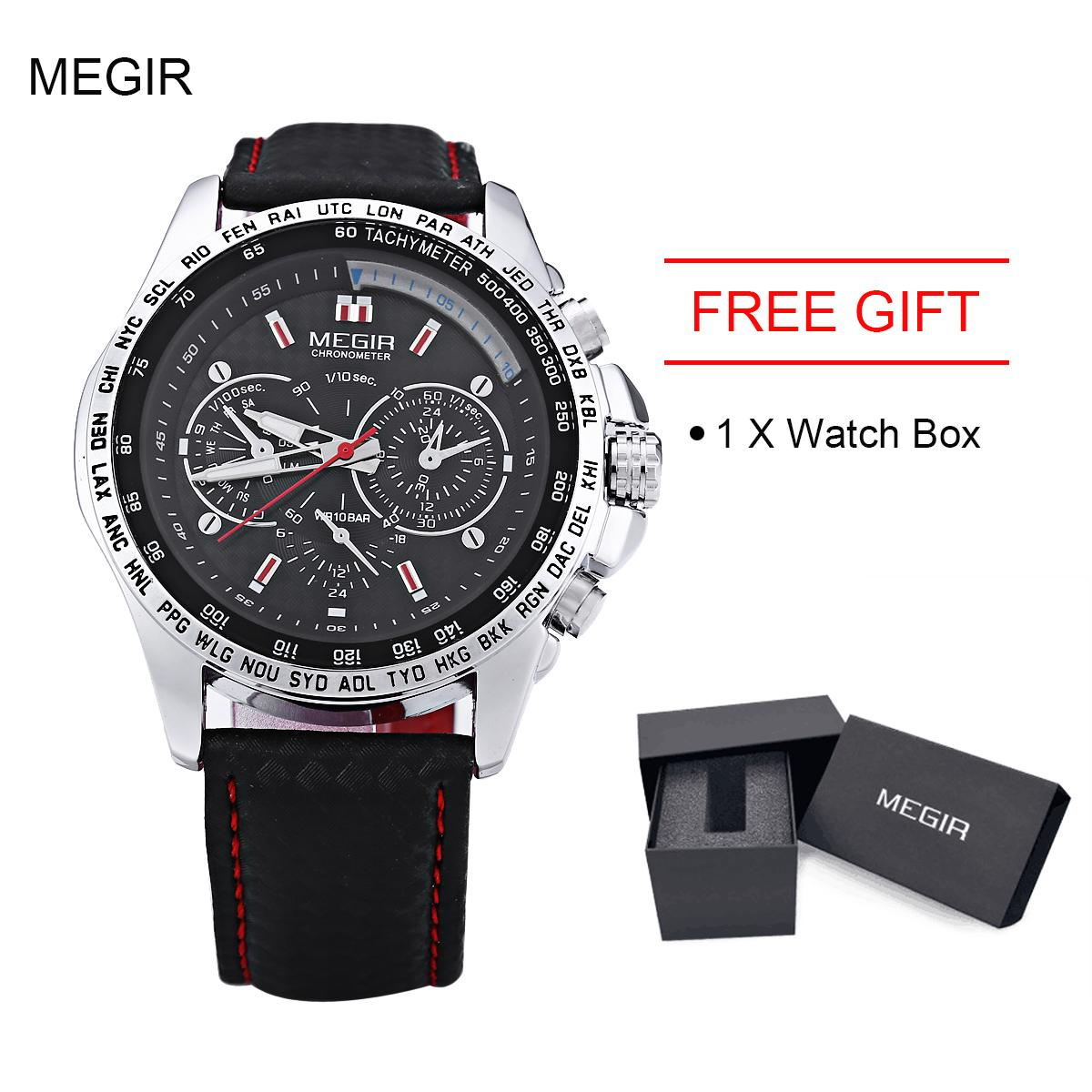 MEGIR M1010 Male Quartz Watch Multifunctional Water Resistance Wristwatch - intl With Watch Box