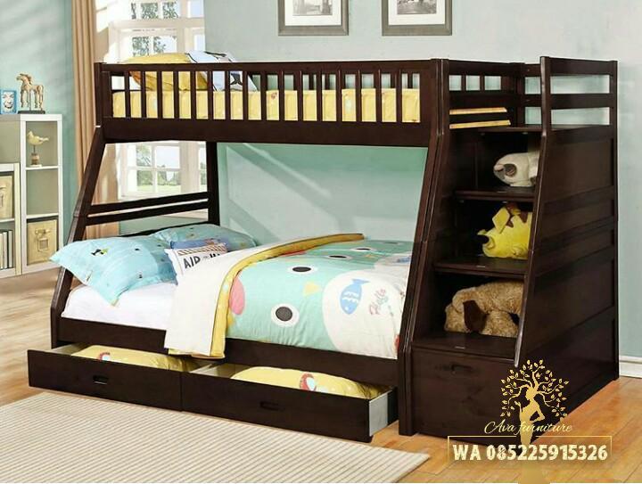 Ranjang susun anak tempat tidur anak minimalis jati AVA FURNITURE