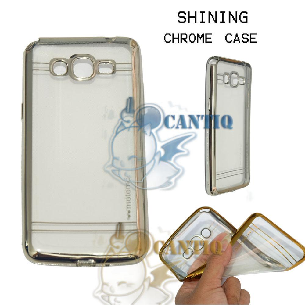Motomo Chrome Soft Case Samsung Galaxy Grand Prime / Silikon Samsung G530 Shining Chrome / Tpu Jelly Ultrathin Samsung Galaxy Grand Prime Ring Glossy / Softshell / Case HP / Case Unik / Casing Samsung Galaxy Grand Prime List Shining Chrome - List Silver