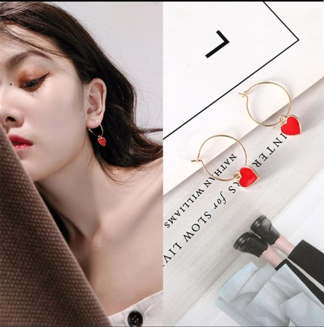 Anting Red Love Heart Shaped 1 Earring
