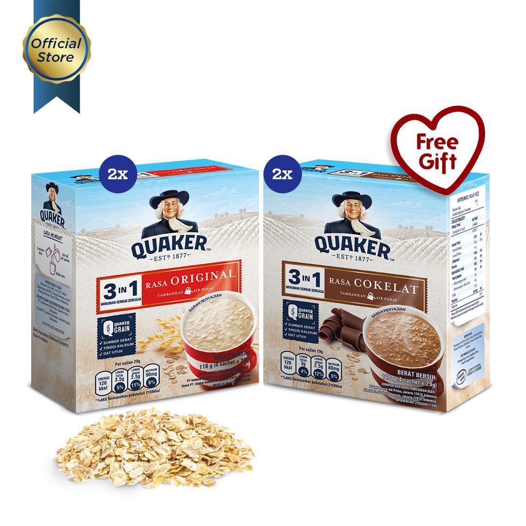 [Mix Pack] Quaker 3 in 1 Original & Chocolate Box 4s - 4 Pcs