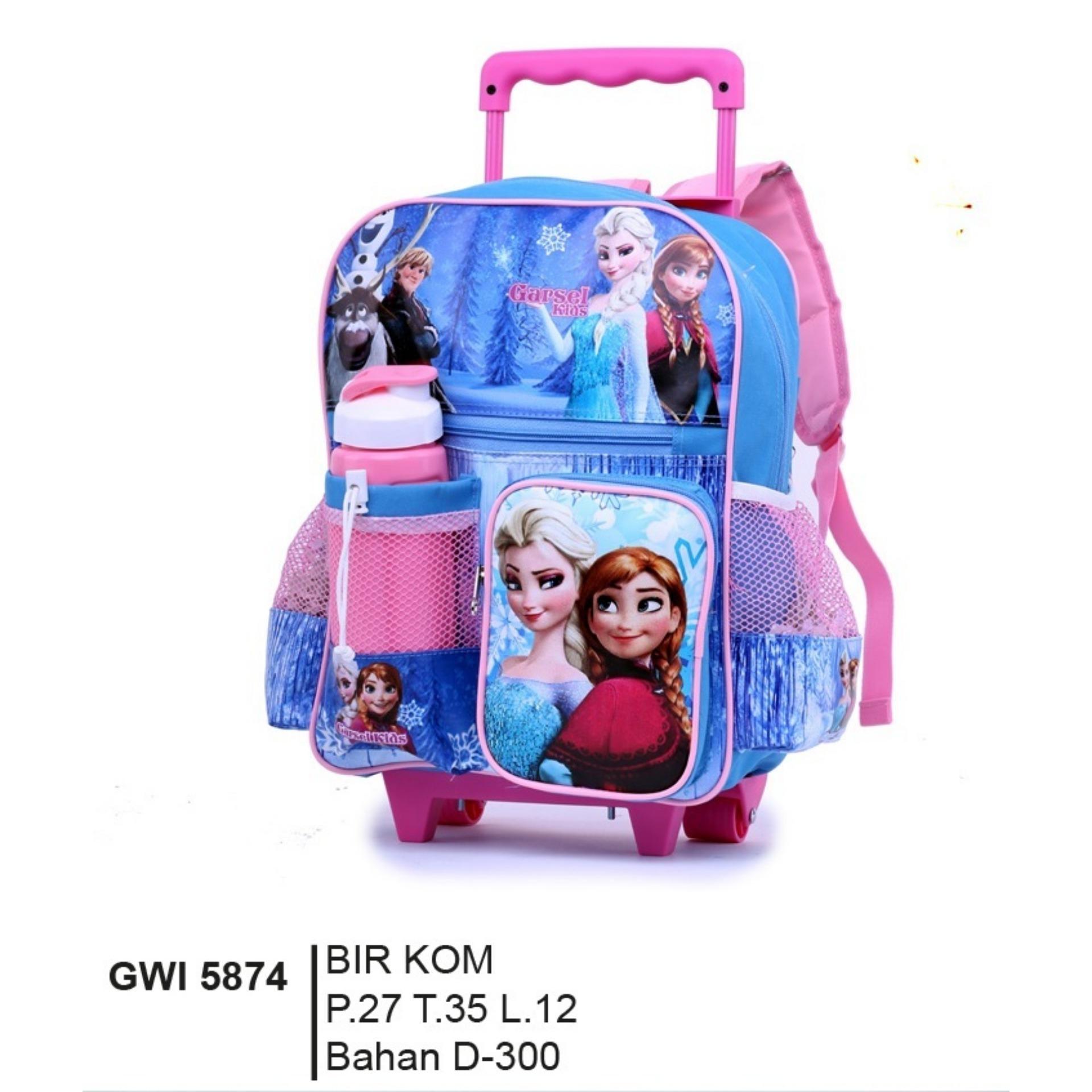 Garsel Fashion Tas Ransel / Troly KARAKTER Anak  Perempuan GWI 5874 - Biru Kombinasi Bahan Dinier 300