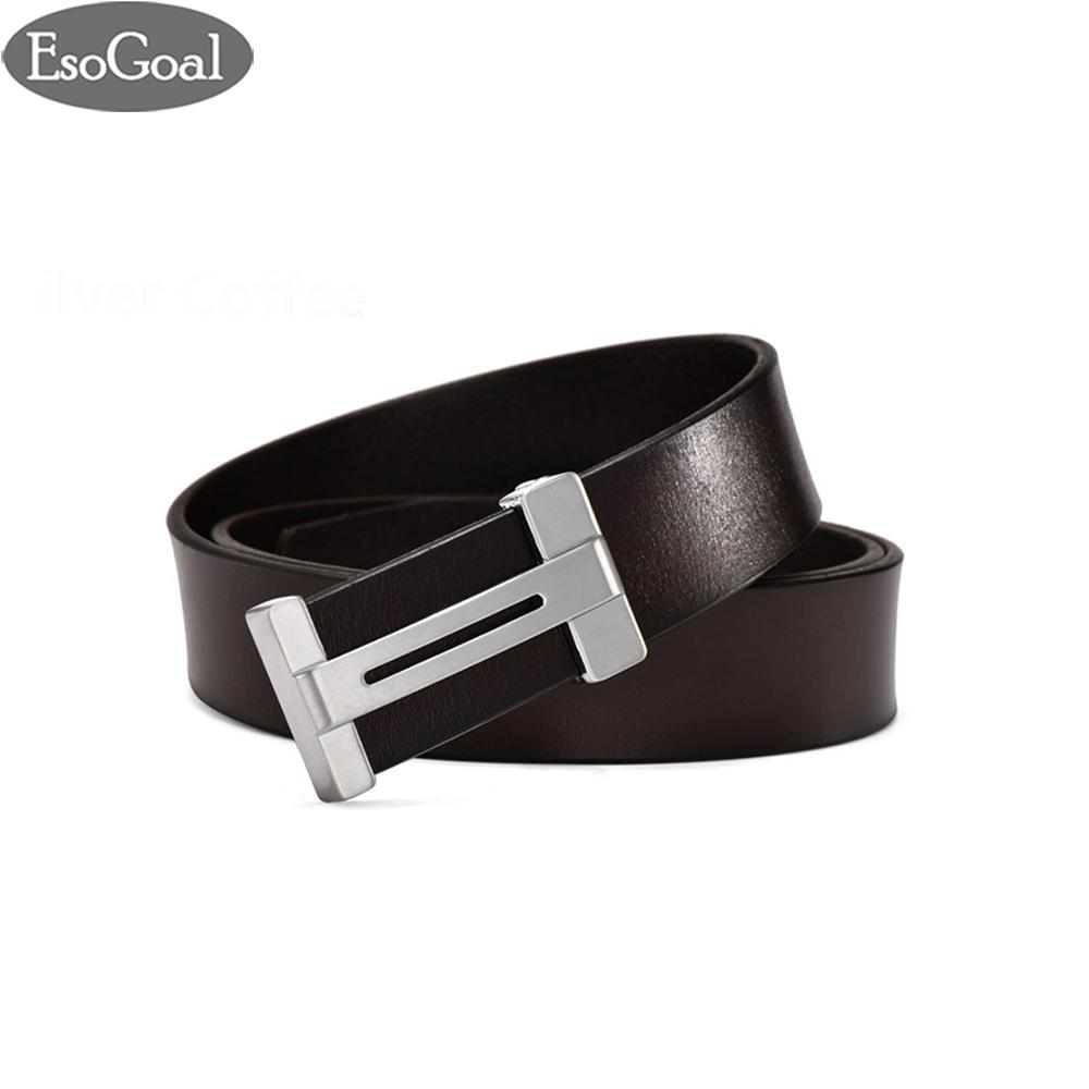 Esogoal Pria H Reversibel Bisnis Kasual Kulit Sabuk With Removable Buckle Brown Ssilver 120 Cm Di Tiongkok