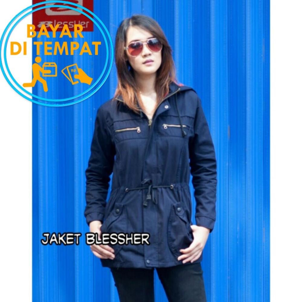 Harga Jaket Parka Wanita Premium Blessher Navy Blue Best Seller Murah
