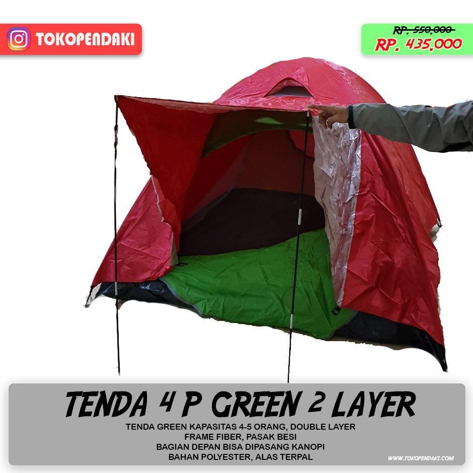 Tenda Camping 4 Orang Double 2 Layer Hangat Anti Air Waterproof Green