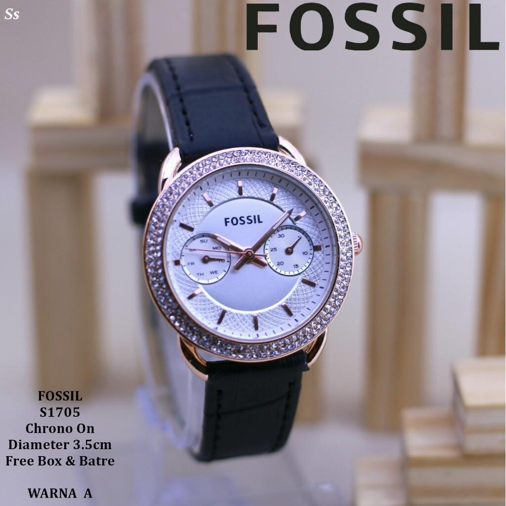 Jam Tangan Wanita/Cewek Fos*L Cantik Tali Kulit Chrono Tanggal Aktif Plat Putih