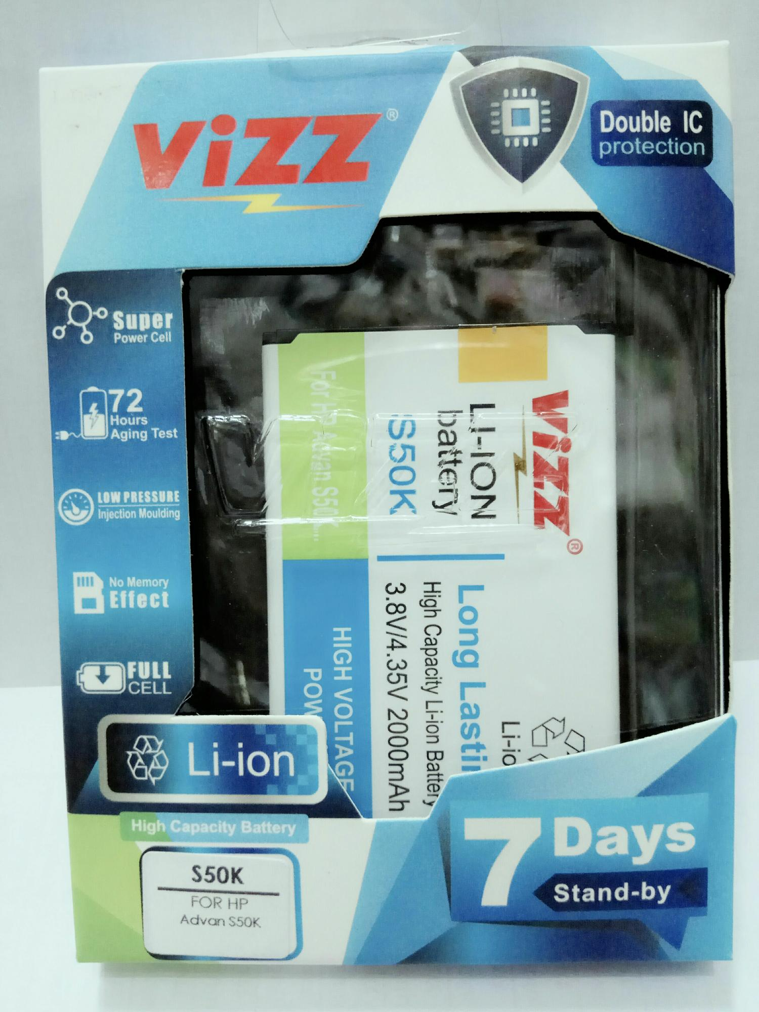 Baterai Batt Batre Battery Double Power Vizz Advan S50K 2000  Mah