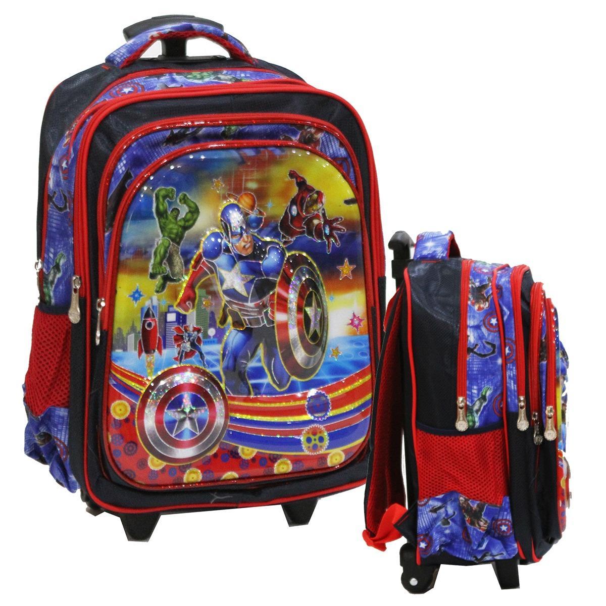 Diskon Onlan Marvel Avengers Captain America 6D Timbul Anti Gores Tas Trolley Anak Sekolah Ukuran Sd Import Branded