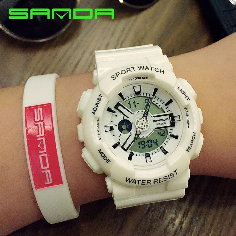 merek Watch 29201 pria Fashion warna-warni Jelly olahraga multifungsi LED Digital Dual layar arloji