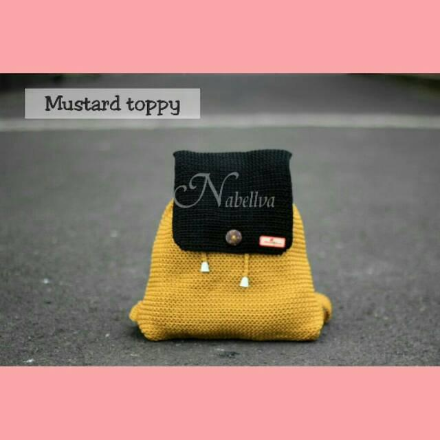 Tas Rajut Ransel Mustard Toppy