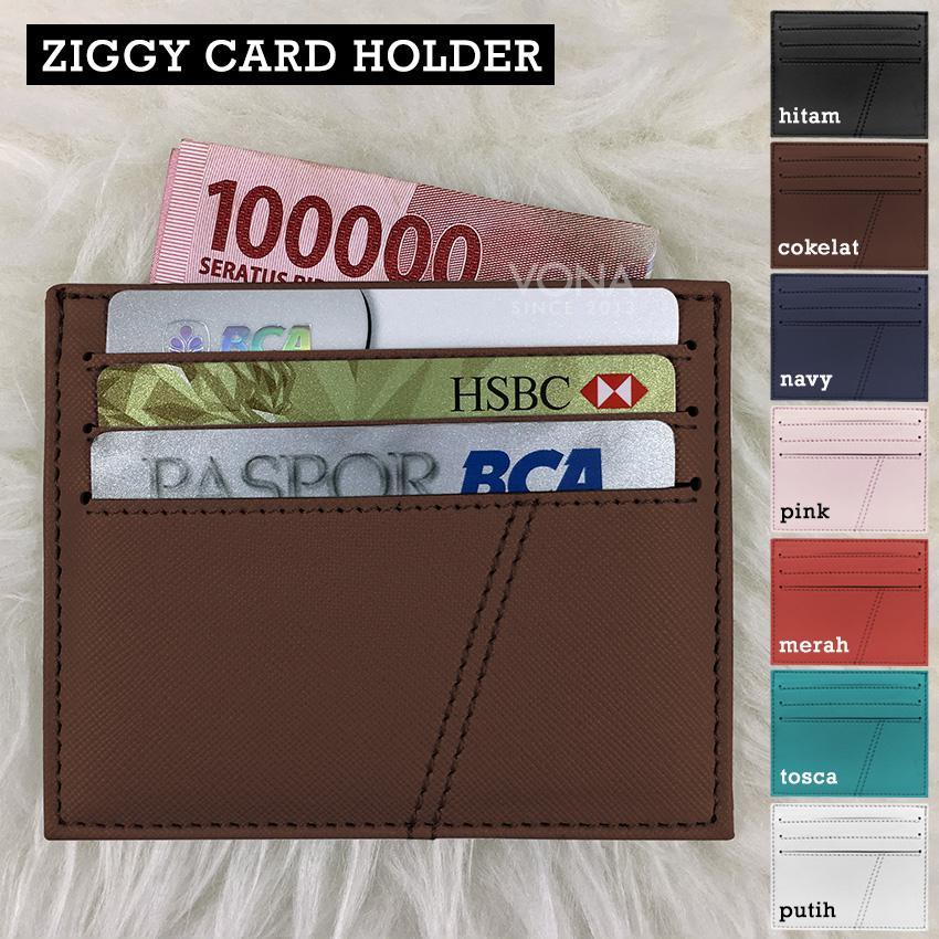 Dompet Kartu Kecil ATM Card Holder Money Slot Cardslot Selip KTP SIM ID Credit Card Saffiano
