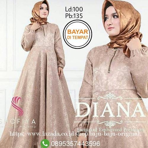 Baju Original Gamis Diana Dress Balotelly Embos Baju Wanita Gamis Baju  Terusan Panjang Baju Kerja Gaun a415eb2b55
